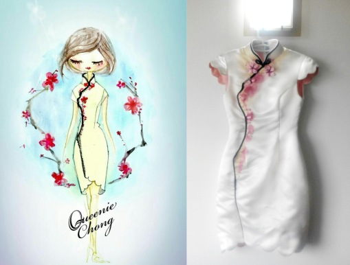 Hand Painted Cheongsam with ribbon details