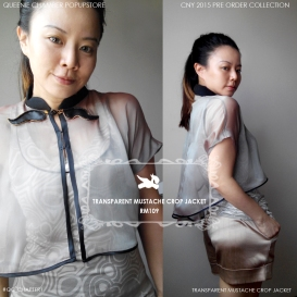 TRANSPARENT MUSTACHE CROP JACKET, RM109